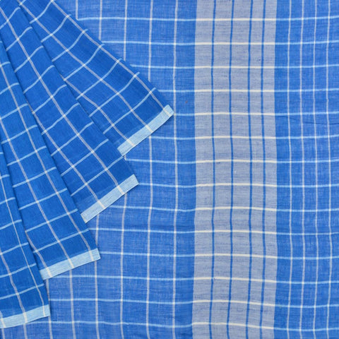 Bengal khadi handwoven blue checks Saree