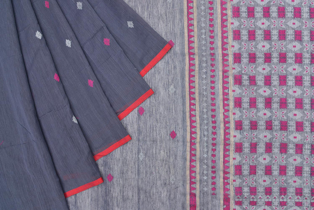 Bengal silk khadi handwoven grey multicolor butti Saree