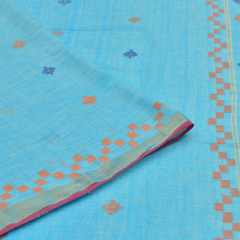Bengal khadi handwoven blue blue and orange floral butti Saree