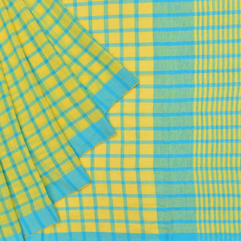 Bengal khadi handwoven yellow checks Saree