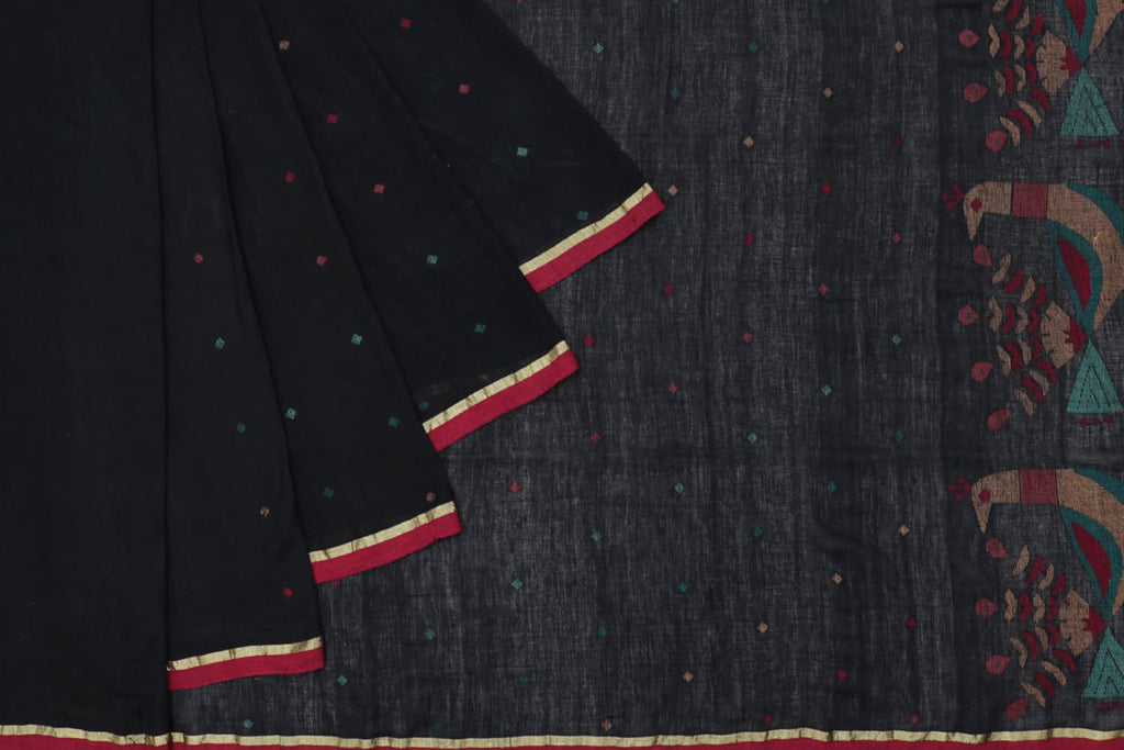 Bengal khadi jamdani black multicolor dots Saree