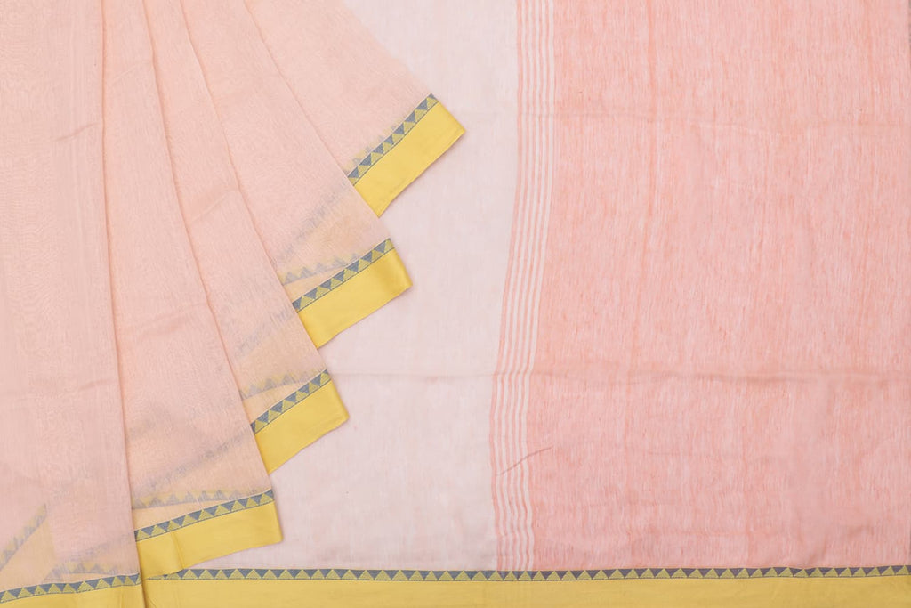 Bengal silk linen handloom peach plain Saree