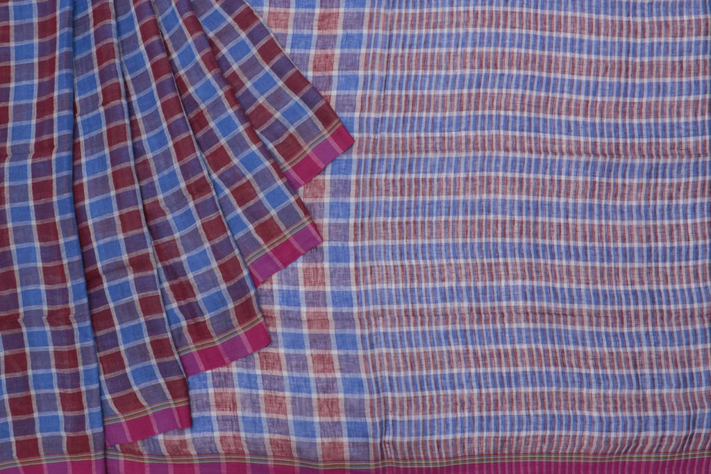 Bengal linen handloom red and blue checks Saree