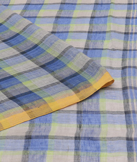 Bengal linen handloom blue checks Saree