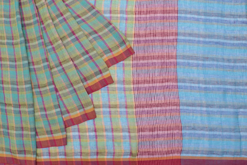 Bengal linen handloom multicolor checks Saree