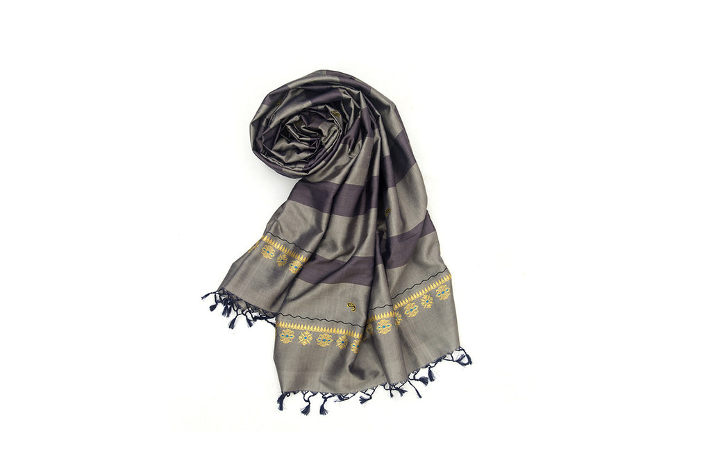 Baluchari Weave Pure Silk Dupatta in Black & Grey with floral motuf