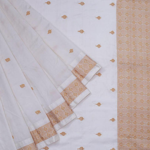 assam white muga silk golden thread butti Saree