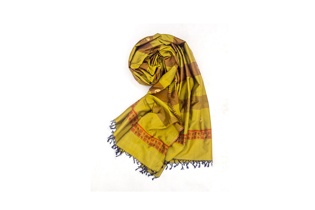 Baluchari Weave Pure Silk Dupatta in Mustard & Brown with floral motif