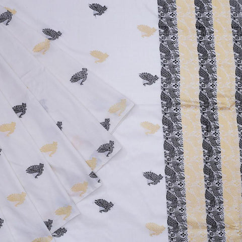 assam white muga silk black and golden bird butti Saree