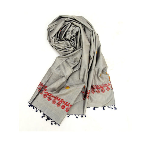 Baluchari Weave Pure Silk Dupatta in Grey with floral motif