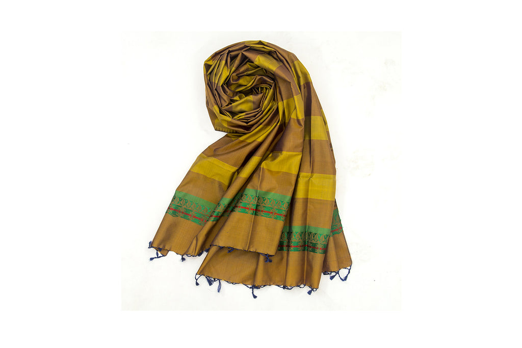 Baluchari Weave Pure Silk Dupatta in Mustard & Brown with paisly moyif