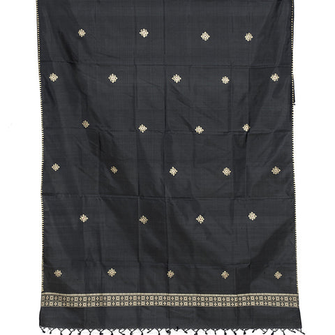 Baluchari Weave Pure Silk Dupatta in Black with floral motiuf