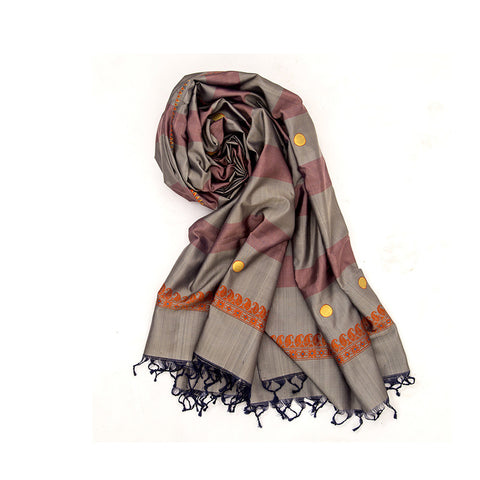Baluchari Weave Pure Silk Dupatta in Grey & Brown with coin motif