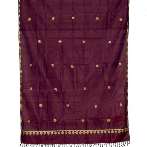 Baluchari Weave Pure Silk Dupatta in Brown with floral motif