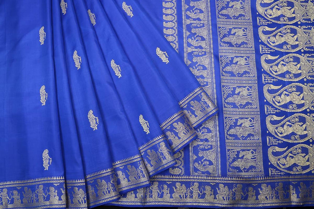 baluchari pure silk blue Saree with zari lady figure motif