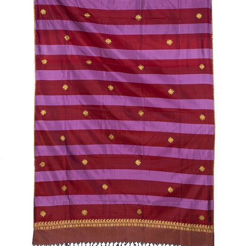 Baluchari Weave Pure Silk Dupatta in Pink with floral motif