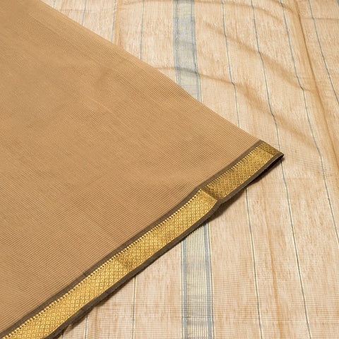 Maheshwari Cotton Silk  Saree In Brown
