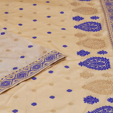 assam beige muga silk blue and golden butti Saree
