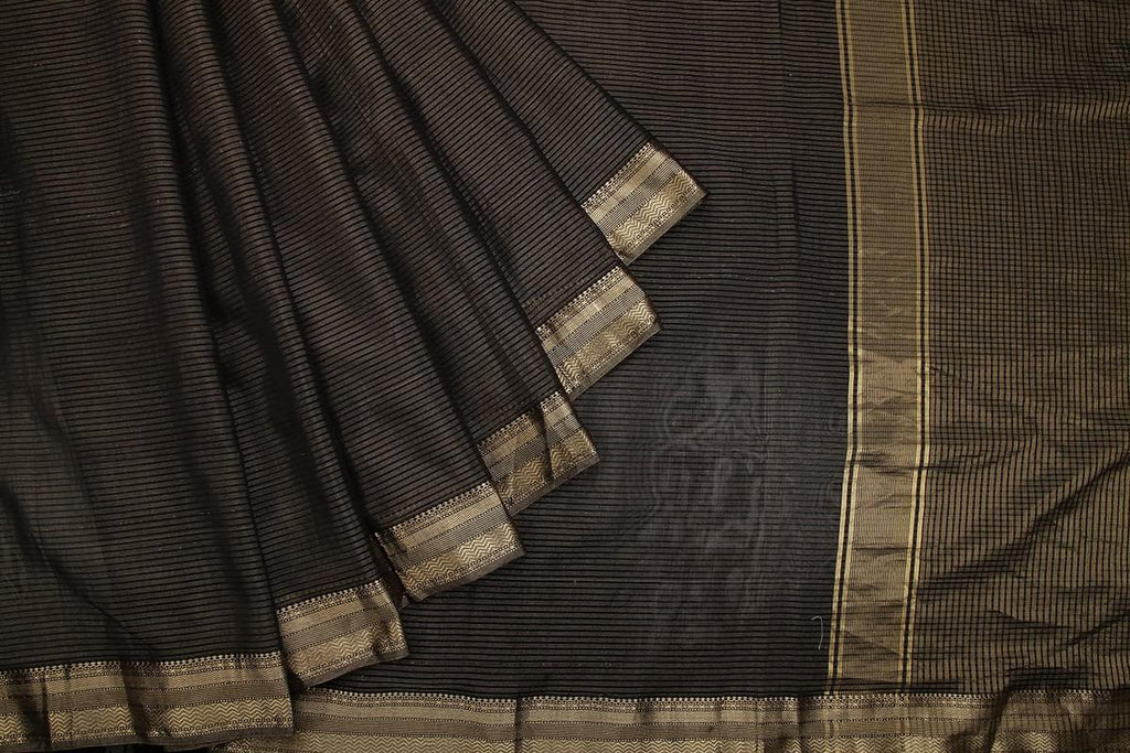 zari maheshwari silk black stripes and moonga check Saree