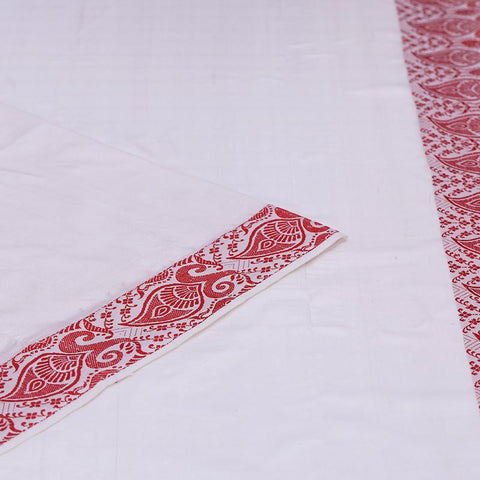assam white muga silk plain Saree