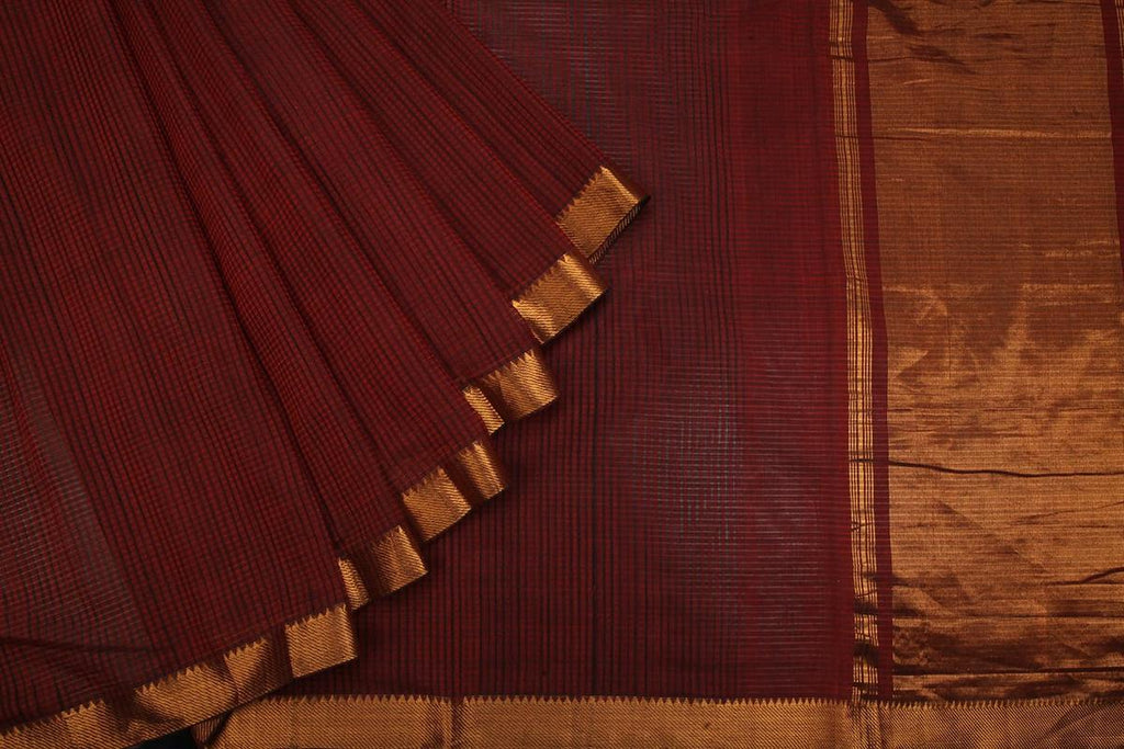 zari maheshwari brown checks Saree