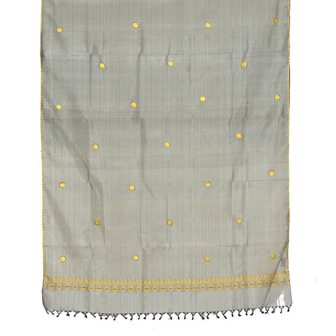 Baluchari Weave Pure Silk Dupatta in Grey coin motif
