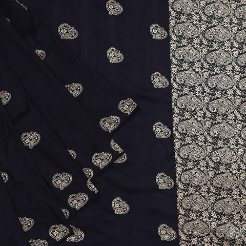 assam black muga silk golden paisly butti Saree