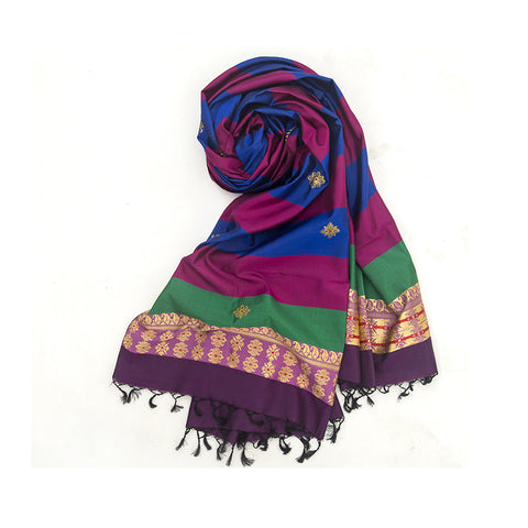 Baluchari Weave Pure Silk Dupatta in Pink & Blue with floral motif