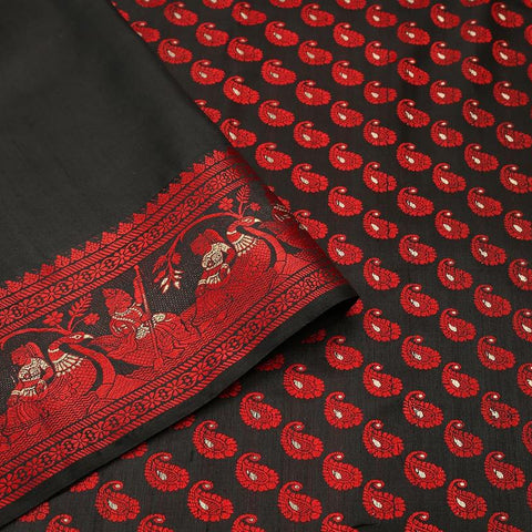 baluchari pure silk black Saree with red paisly motiff motif