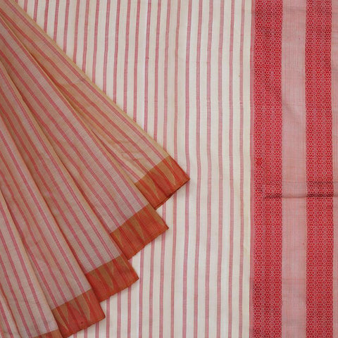 assam cream muga silk orange stripes Saree
