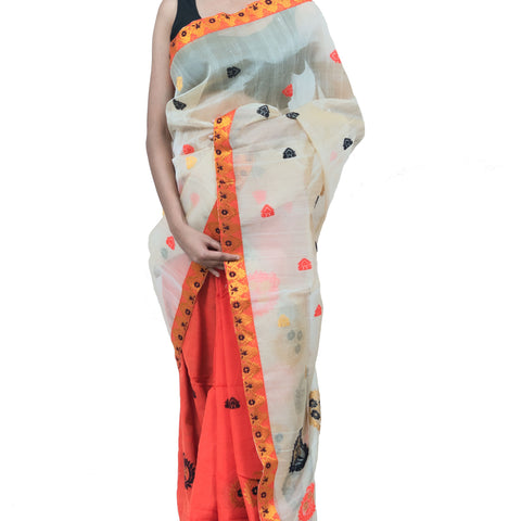 Handloom Raw Silk Woven Off White Saree