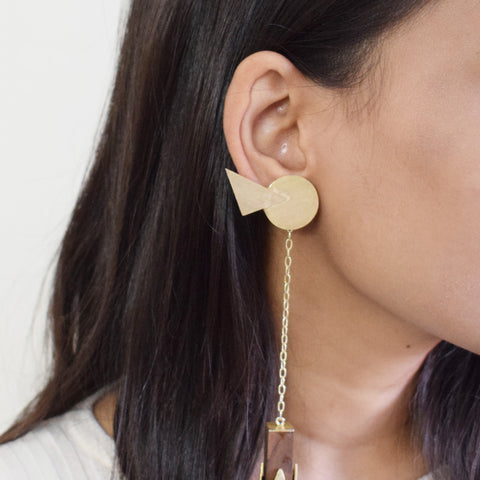 Brass  and Upcycled Teak Wood Gold Earrings