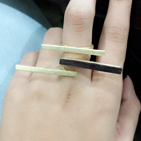 Brass  and Upcycled Teak Wood Gold Ring