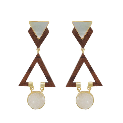 Stone  and Wood White Earrings