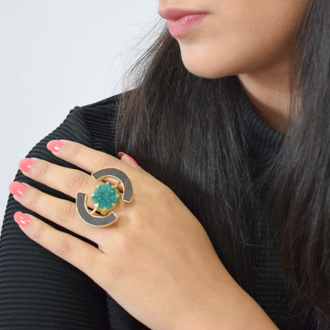 Brass  and Wood Green Ring