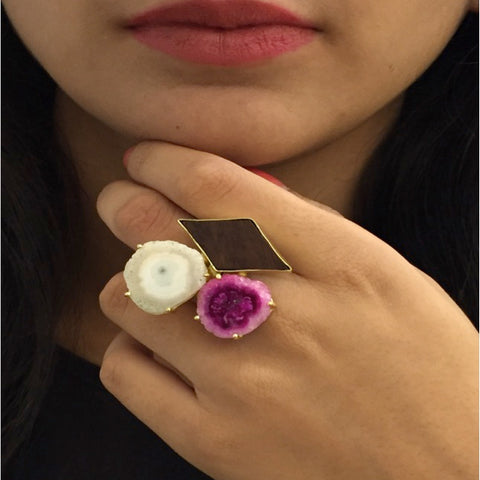 Brass  and Wood Pink and White Ring