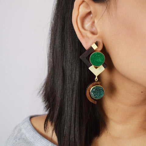 Brass  and Wood Green Earrings
