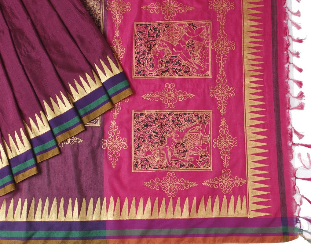 Orissa Silk Cotton Handpainted Saree With Floral Motif - Pink