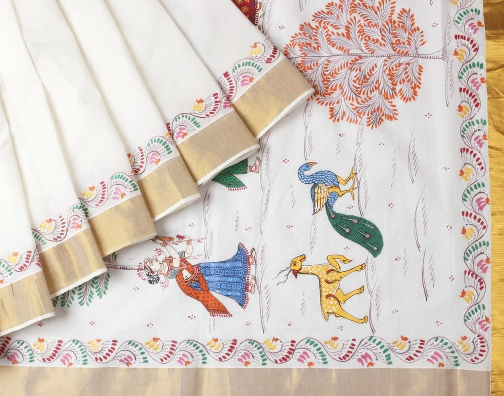 Kerala Cotton Offwhite Saree With Orissa Handpainted Radhakrishna Motif