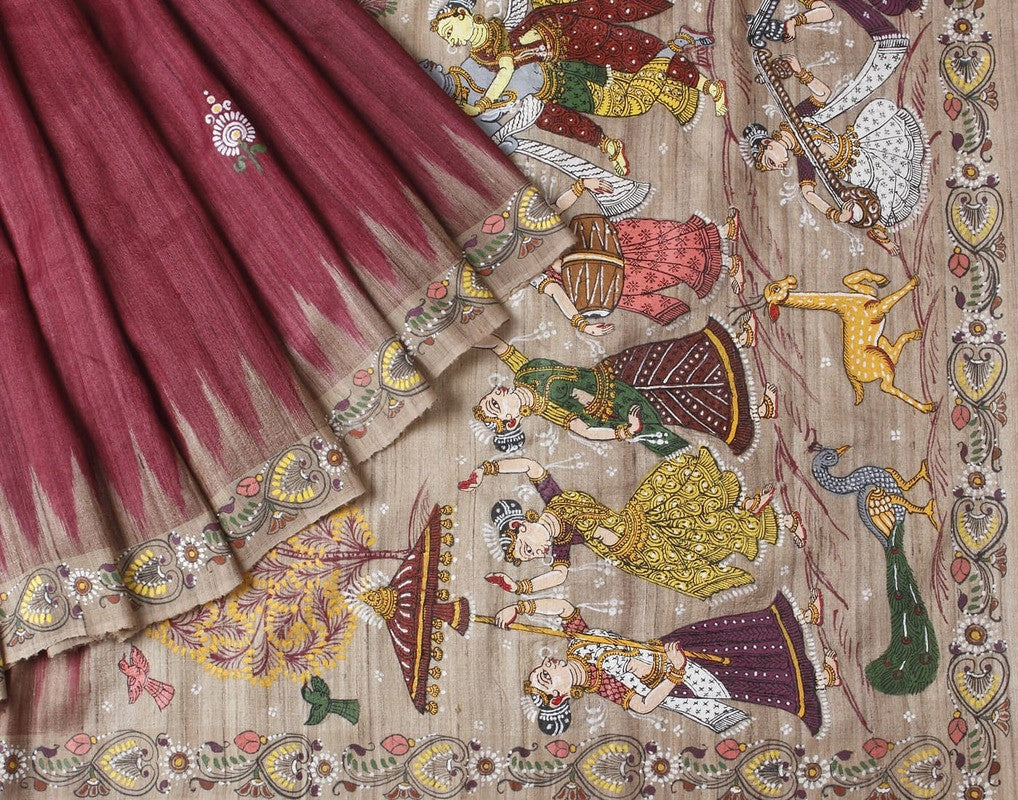 Orissa Ghicha and Tussar Silk Handpainted Saree with Floral Motif