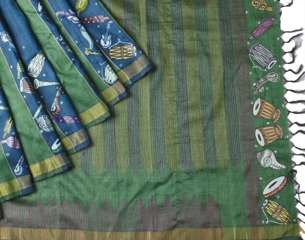 Orissa Tussar Silk Handpainted Saree With Instrumental Motif