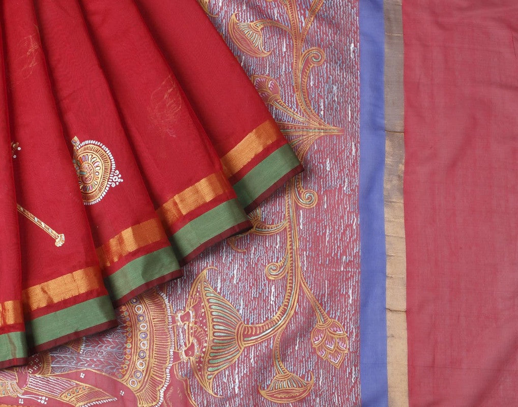 Orissa Cotton Handpainted Saree In Red