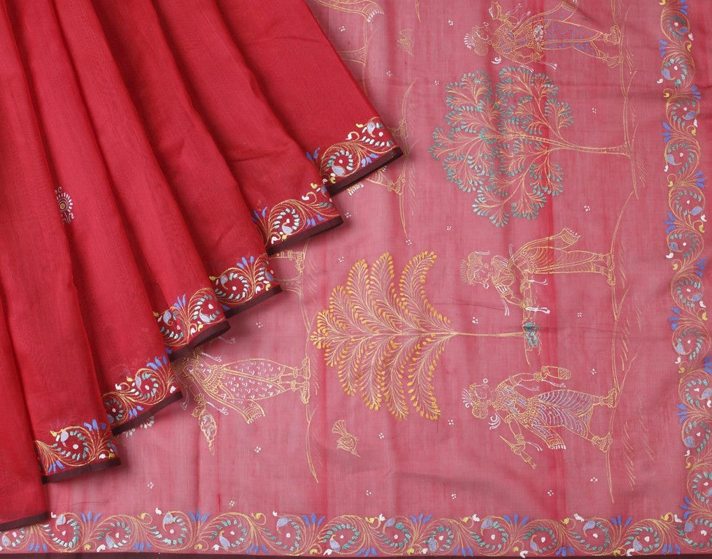 Orissa Chanderi Silk Red Handpainted Saree With Floral Motif