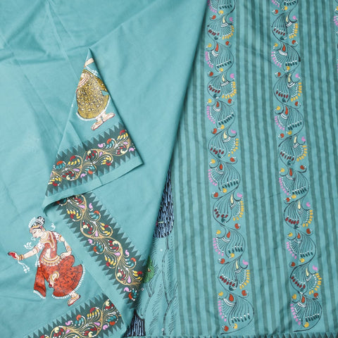 Orissa Cotton Handpainted Green Plain Saree