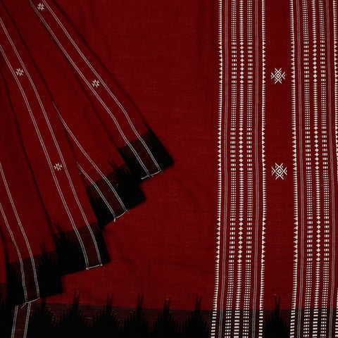 Maroon black Kotpad Cotton Saree