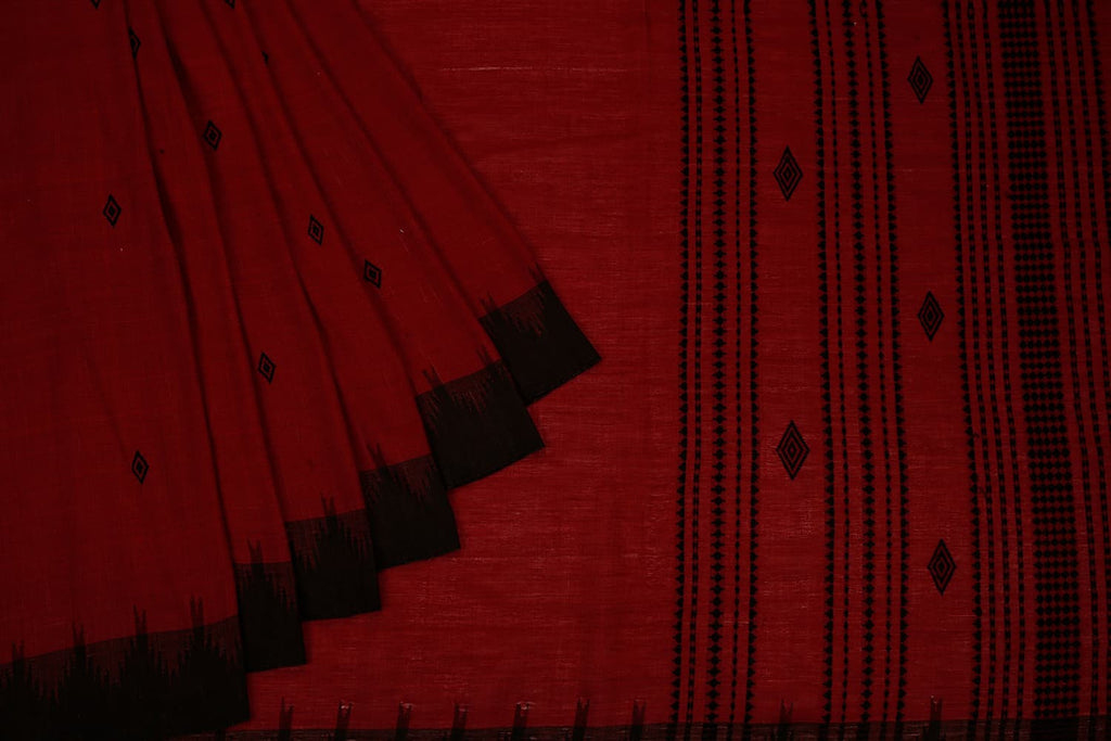 Maroon Odisha Kotpad Cotton Saree