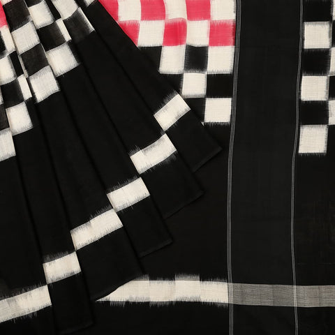 Pochampally Ikkat Cotton Saree in half black and pink