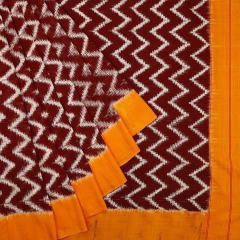 Pochampally Ikkat Cotton Saree in Brown