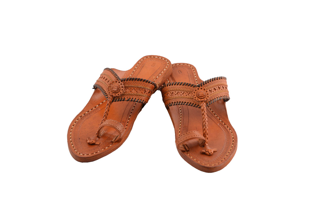 Cosi - Toe Ring Genuine Leather Handmade Kolhapuri Chappal for Women