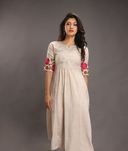 Handwoven Beige and Pink Handloom cotton Dress